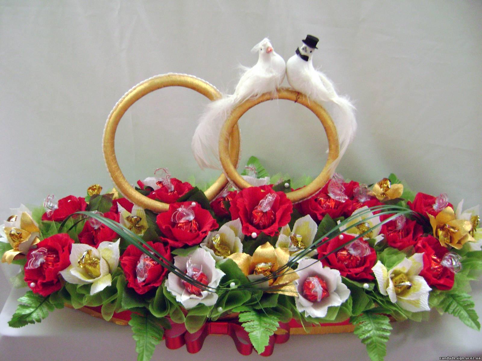 Подарки из конфет на свадьбу своими руками фото